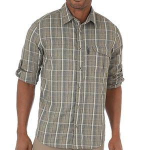 Wrangler Men's Outdoor Wicking Plaid Utility Shirt -  Dusky Green