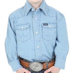 Wrangler Boy's Stonewashed Denim Long Sleeve Solid Snap Shirt - Stonewash