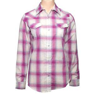Wrangler Women's  Long Sleeve Plaid Shirt - Pink