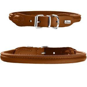 Hunter Germany Round & Soft Elk Leather Dog Collar - Cognac