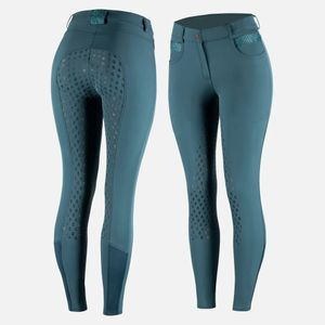 Horze Ladies Sienna Silicone Fullseat Breeches - Majolica Blue
