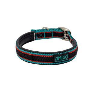 Amigo Nylon Dog Collar - Black/Teal/Dark Cherry