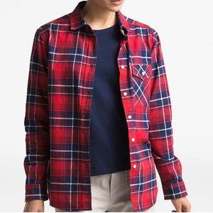 The North Face Women's Boyfriend Shirt - Red Berkley Twill Plaid