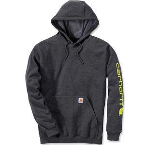 Carhartt Men's Midweight Signature Logo Hooded Sweatshirt - Carbon Heather