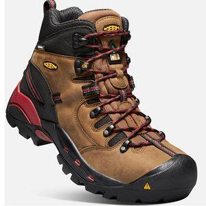 Keen Men's CSA Hamilton Waterproof Work Boots (Carbon Fiber Toe)- Bison/Jester Red