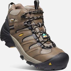 Keen Men's CSA Lansing Mid Waterproof Work Boots (Steel Toe) - Shitake/Brindle