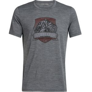 Icebreaker Men's Tech Lite Short Sleeve Crewe Everest Crest - Gritstone Heather