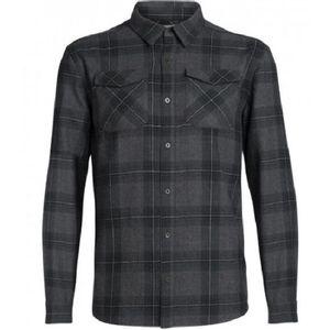 Icebreaker Men's Lodge Long Sleeve Flannel Shirt - Jet Heather