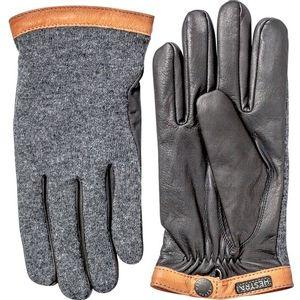 Hestra Men's Deerskin Tricot Gloves - Charcoal/Black