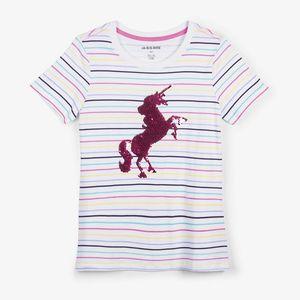 Hatley Women's Rainbow Unicorn Flip Sequin PJ Tee