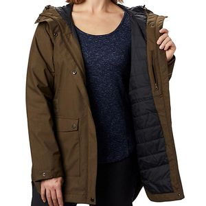 Columbia Women's Here and There Insulated Trench Jacket - Olive Green Lattice Emboss