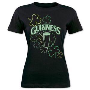 Guinness Women's Glow In The Dark T-Shirt - Black