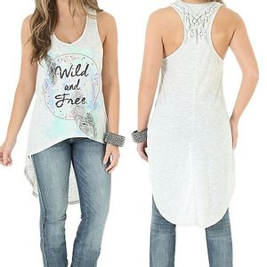 Wrangler® Women's Western Tank with Hi Lo Hem and Graphic - Natural