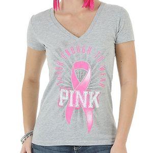 Wrangler Women's Tough Enough To Wear Pink®  V-Neck Printed Top - Grey