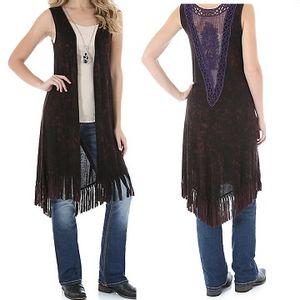 Wrangler Women's Lace Applique Fringed Vest