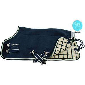 Rambo Deluxe Fleece Horse Cooler - Navy/Beige/Baby Blue/Navy
