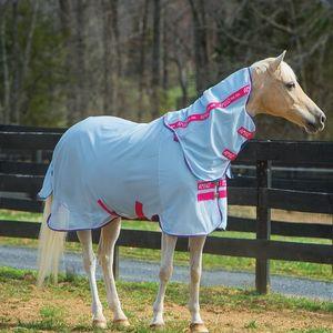 Amigo Pony Bug Rug Flysheet - Azure/White/Pink/Powder Blue