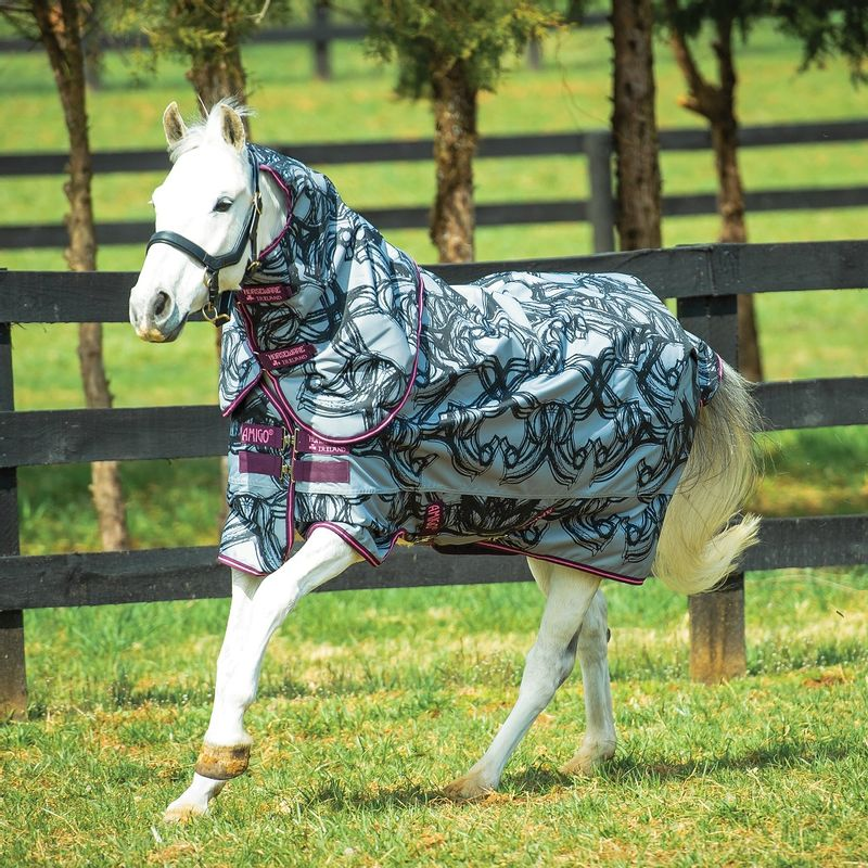 Amigo-Pony-Plus-200g-Turnout---Horse-Print-Purple-Pink-14697