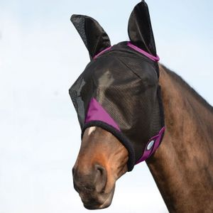 Weatherbeeta ComFiTec Durable Mesh Mask with Ears - Black/Purple