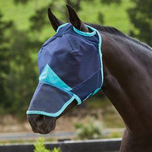 Weatherbeeta ComFiTec Fine Mesh Mask with Nose - Navy/Turquoise