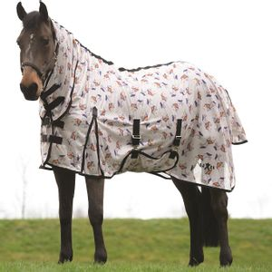 Saxon Mesh Fly Sheet with Gusset, Belly Cover & Combo Neck - Unicorns