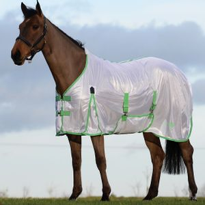 Saxon Mesh Fly Sheet with Gusset & Belly Cover - White/Mint/Blue