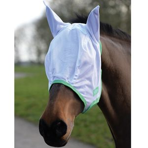 Saxon Mesh Fly Mask with Ears - White/Mint/Blue