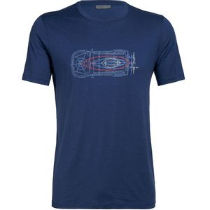 Icebreaker Men's Tech Lite Short Sleeve Crewe Wireframe Wonder - Estate Blue