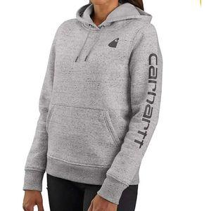 Carhartt Women's Clarksburg Graphic Sleeve Hooded Sweatshirt - Ashphalt Heather Nep