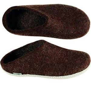 Glerups Unisex Slippers with Leather Sole - Brown