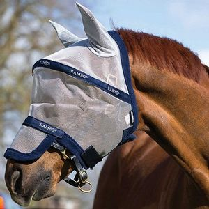 Rambo Plus Fly Mask - Silver/Navy