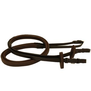 Rambo Micklem Rubber Competition Reins - Brown