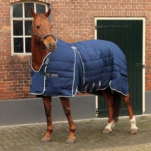 Rambo Optimo 200g Stable Rug - Navy/Beige/Baby Blue/Navy