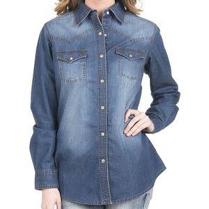 Wrangler Women's Faded Medium Denim Shirt