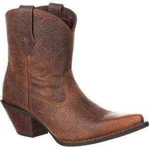 Durango Women's Crush Western Embossed Booties - Vintage Brown