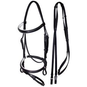 HDR Advantage Padded Dressage Snaffle Bridle - Black/White