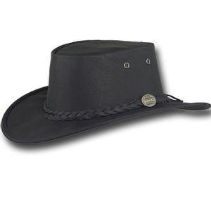 Barmah Sundowner Leather Outback Hat - Black