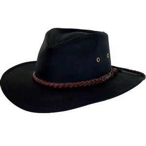 Outback Trading Grizzly Oilskin Hat - Black