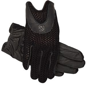 SSG Lycrochet Horseshoe Back Riding Gloves - Black