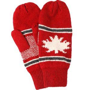 Crown Cap Unisex Canadiana Lambswool Mitt - Red