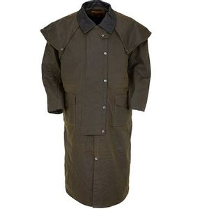 Outback Trading Stockman Oilskin Duster with Leather Collar - Bronze