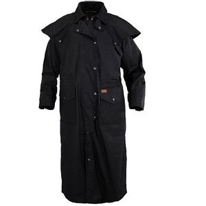 Outback Trading Stockman Oilskin Duster With Leather Collar - Black