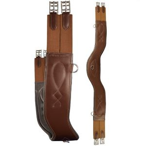Total Saddle Fit Shoulder Relief Jump Girth - Leather/Leather - Brown