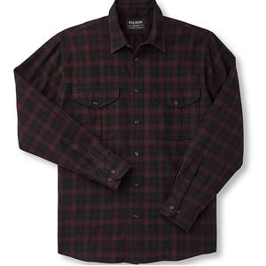 Filson Men's Lightweight Alaskan Guide Shirt - Black/Burgundy Heather Plaid