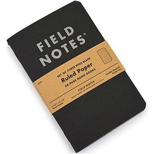 Field Notes Pitch Black Dot-Ruled  Memo Book - 3-pack