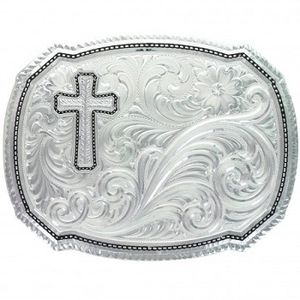 Montana Silversmiths Right Cut of the Rope Buckle with Silver Wheat Cross