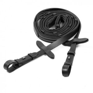 Schockemohle Sports Rubber Grip Web Reins - Black/Silver