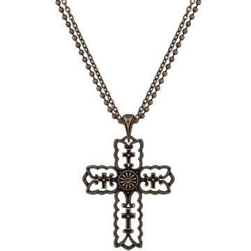 Wrangler-Rock-47-Vintage-Kitsch-Bronze-Tone-Scalloped-Cross-Necklace-44943