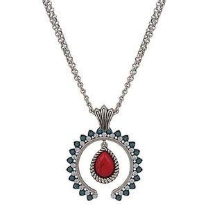Wrangler Rock 47 Tribal Flair Red and Turquoise Squash Blossom Necklace