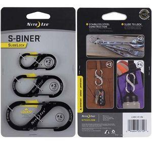 Nite Ize Slidelock Stainless Steel S-Biner 3-Pack #2,#3,#4 - Black